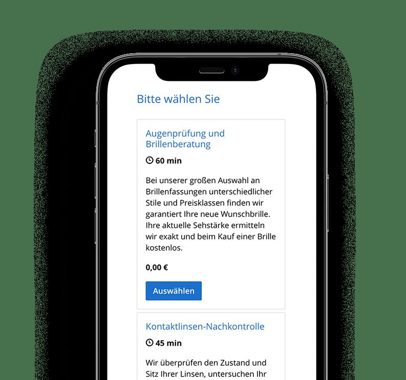 Online-Terminbuchung auf dem Smartphone